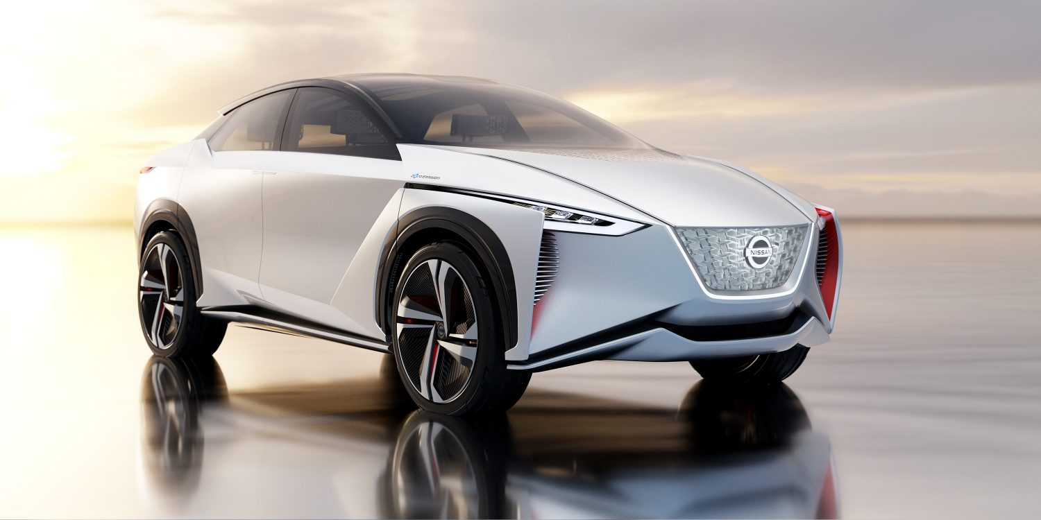 Nissan IMx concept car 3/4 exterior front in desert