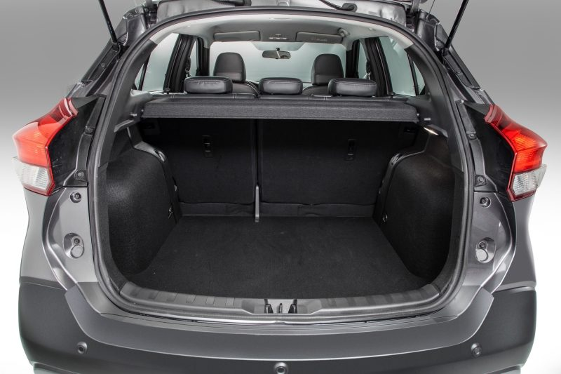 Nissan Kicks interior rear cargo area with passenger seats folded down