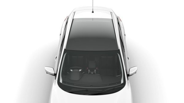 Overhead view of car showing glass panel roof