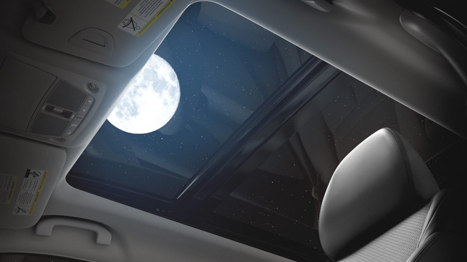 open sunroof with shot of moon